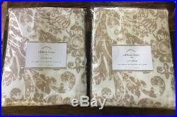 Pottery Barn Addison Antique Drapes Curtains Neutral Set (2) 50x84 Ivory Khaki