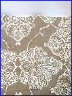 Pottery Barn Alana Medallion Linen/Cotton Curtain (Brownstone) 4 Panels 50 X 84