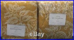 Pottery Barn Alessandra Floral Drapes Set/2 Gold Pole Top 50 x 108 New Rare