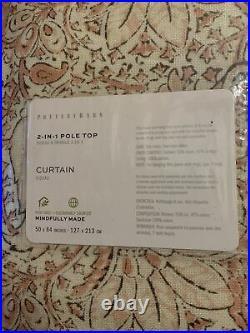 Pottery Barn Amala Kalamkari Cotton Lined Drapes Panel 50x 84 Curtain Brush Pink