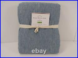 Pottery Barn Belgian Flax Curtain Cotton Lining Blue Chambray 50x 108 #7695