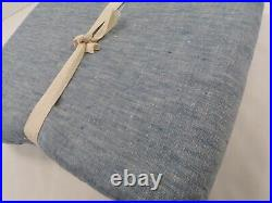 Pottery Barn Belgian Flax Curtain Cotton Lining Blue Chambray 50x 96 #7694
