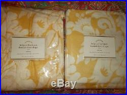Pottery Barn Belgian Flax Linen Damask Sheer Drapes, Yellow, 50 X 108, New