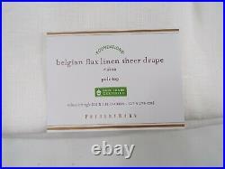 Pottery Barn Belgian Flax Linen Drape Curtain Poletop Sheer 50x 108 White #8607
