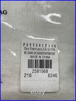 Pottery Barn Belgian Flax Linen Rod Pocket Blackout Curtain, 50 x 84, Ivory