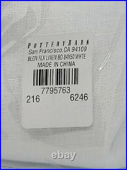 Pottery Barn Belgian Flax Linen Rod Pocket Blackout Curtain 50 x 84, White