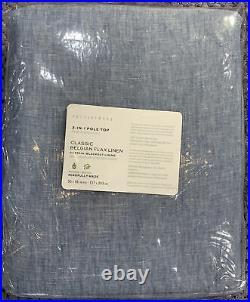 Pottery Barn Belgian Flax Linen Rod Pocket Blackout Curtain 50x96, Blue Chambray