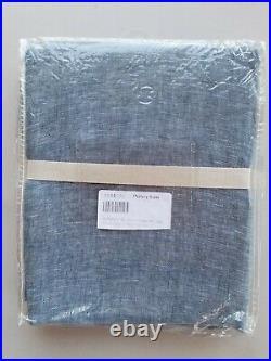 Pottery Barn Belgian Flax Linen Sheer Tie Top Drape Curtain Chambray 96 #3590