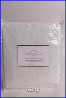 Pottery Barn Belgian Flax Linen drape blackout curtain panel 50x84 white