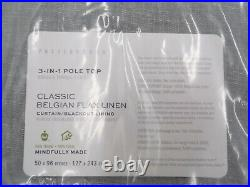 Pottery Barn Belgian Linen Blackout Drape Curtain Chambray Gray 50x96 S/2 #104S