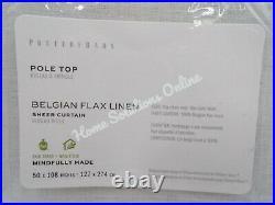 Pottery Barn Belgian Linen Libeco Sheer Drape Panel Curtain White 50x108 #E39