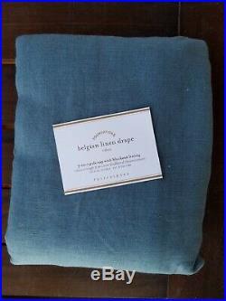 Pottery Barn Belgian Linen Panel Drape Curtain Blackout Riviera Blue 96 #4510