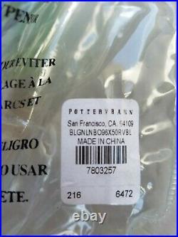 Pottery Barn Belgian Linen Panel Drape Curtain Blackout Riviera Blue 96 #8667