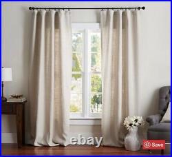 Pottery Barn Belgian Linen Rod Pocket Blackout Curtain 50 x 108 Natural NEW