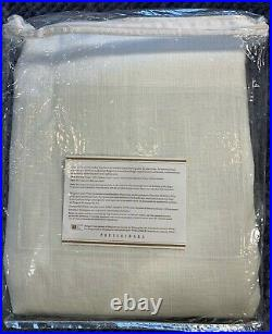 Pottery Barn Belgian Linen Rod Pocket Blackout Curtain Libeco Linen 50x96, White