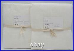 Pottery Barn Belgian Linen Sheer Curtain Drape Panel White 50x 96 S/2 #3617D