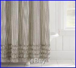 Pottery Barn Black Ticking Stripe Ruffle Shower Curtain