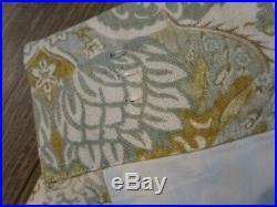 Pottery Barn Brown/Beige/Blue Floral Linen/Cotton Curtian 2 Panel Set 50x96