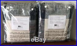 Pottery Barn Bryce Check Curtain Drape (Set of 2) 50 x 84 Navy