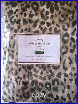 Pottery Barn Cheetah Print Linen/Cotton Curtain Neutral Multi 96 NEW
