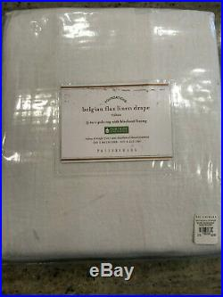Pottery Barn Classic Belgian Flax Linen Curtain Blackout Lining 50 x 84 White