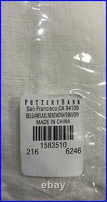 Pottery Barn Classic Belgian Linen Rod Pocket Curtain, Ivory, 100 W x 96 L