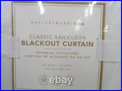 Pottery Barn Classic Sailcloth Blackout Curtain Drape Panel White 44x 96 #J171