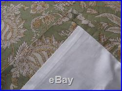 Pottery Barn Cotton Curtain 2 Panels Margaret Jacobean Floral Design Green 50x84