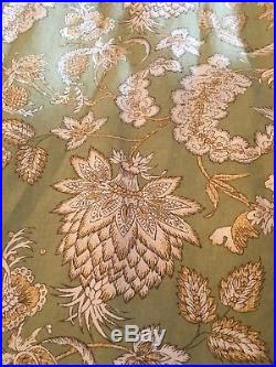 Pottery Barn Cotton Curtain 2 Panels Margaret palamore Floral Design Green 50x84