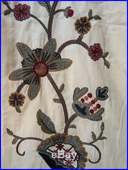 Pottery Barn Crewel Floral Curtains 2 Panels Each 50 X 98
