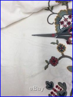 Pottery Barn Crewel Floral Curtains 2 panels Each 50 x 98 Cotton