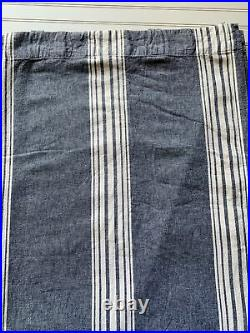 Pottery Barn Curtain PAIR Panels Navy Blue White Chambray Linen Cotton 50 X 84