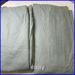 Pottery Barn Curtain set pair 2 panels green linen cotton blend lined 50x84