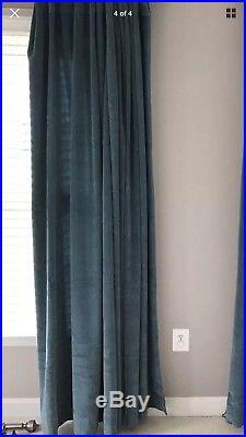 Pottery Barn Curtains Drapes Panel Velvet Blackout Vintage Pool Teal Blue 100 84