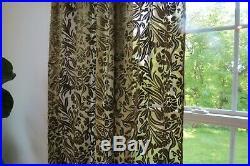 Pottery Barn Curtains Drapes Two 2 Panels Green Velvet Damask Sheer