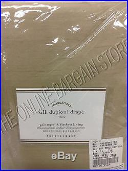 Pottery Barn DUPIONI SILK Curtains Drapes Panels BLACKOUT 104x96 Parchment