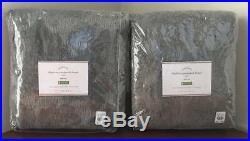 Pottery Barn Delphina Jacquard Poletop Curtain (2) 50 x 96 Charcoal Gray