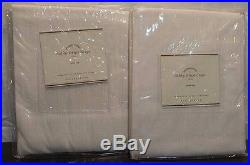 Pottery Barn Dobby Stripe Drape Pole Top 50 x 84 White Set of 2 New