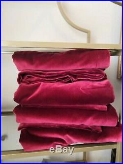 Pottery Barn Drapery Panel Tab Curtains Cotton Solid Red 63 x 48 Set of 4