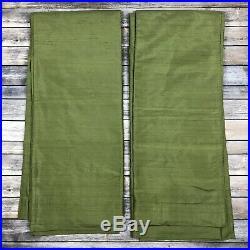 Pottery Barn Dupioni Green Silk Panels Drapes Curtains 2 Panel Set 50 x 84