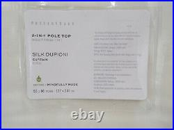 Pottery Barn Dupioni Silk Cotton Lined Drape Panel Curtain Ivory 50x 96 #H130