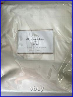 Pottery Barn Dupioni Silk Pole Pocket Curtain 104 x 108 Ivory Cotton Lining