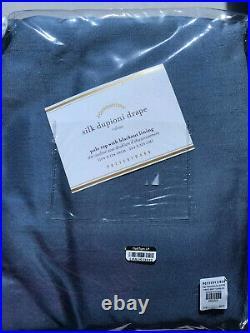 Pottery Barn Dupioni Silk Rod Pocket Blackout Curtain 100 x 124 Lagoon Blue