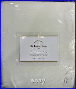 Pottery Barn Dupioni Silk Rod Pocket Blackout Curtain, 50w x 84l, Ivory