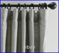 Pottery Barn Dupioni Silk Rod Pocket Curtain Drape 104 x 96 Platinum Gray New