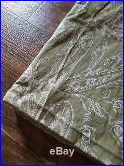 Pottery Barn ELLA Green Paisley Pole Top Linen Blend Curtain 2 Pc 50 x 96