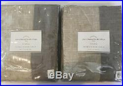 Pottery Barn EMERY FRAME BORDER LINEN Curtain 50 X 96 Set/2 Oatmeal/Gray NWT