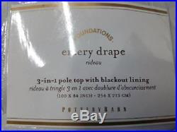 Pottery Barn EMERY LINEN/COTTON POLE-POCKET Blackout DRAPE 100x84 ivory