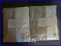 Pottery Barn EMERY LINEN FRAMED BORDER CURTAINS-50 X 108-FLAX/OATMEAL-$400