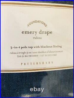 Pottery Barn Emery Drape 50x84 Blackout Curtain Linen Decor Midnight Denim Blue